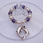Double Dolphins Wine Glass Charm - Full Sparkle Style